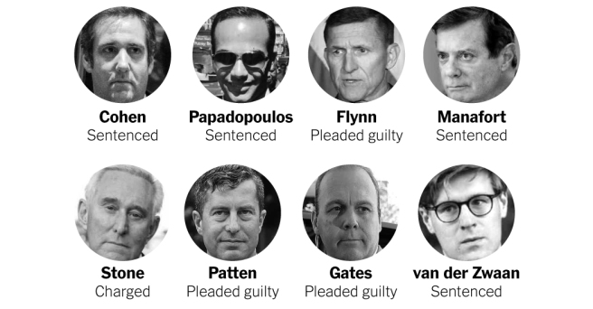a sampling of those associated with Trump and his campaign who have been indicted.