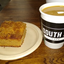 old-school coffee cake and cup of coffee
